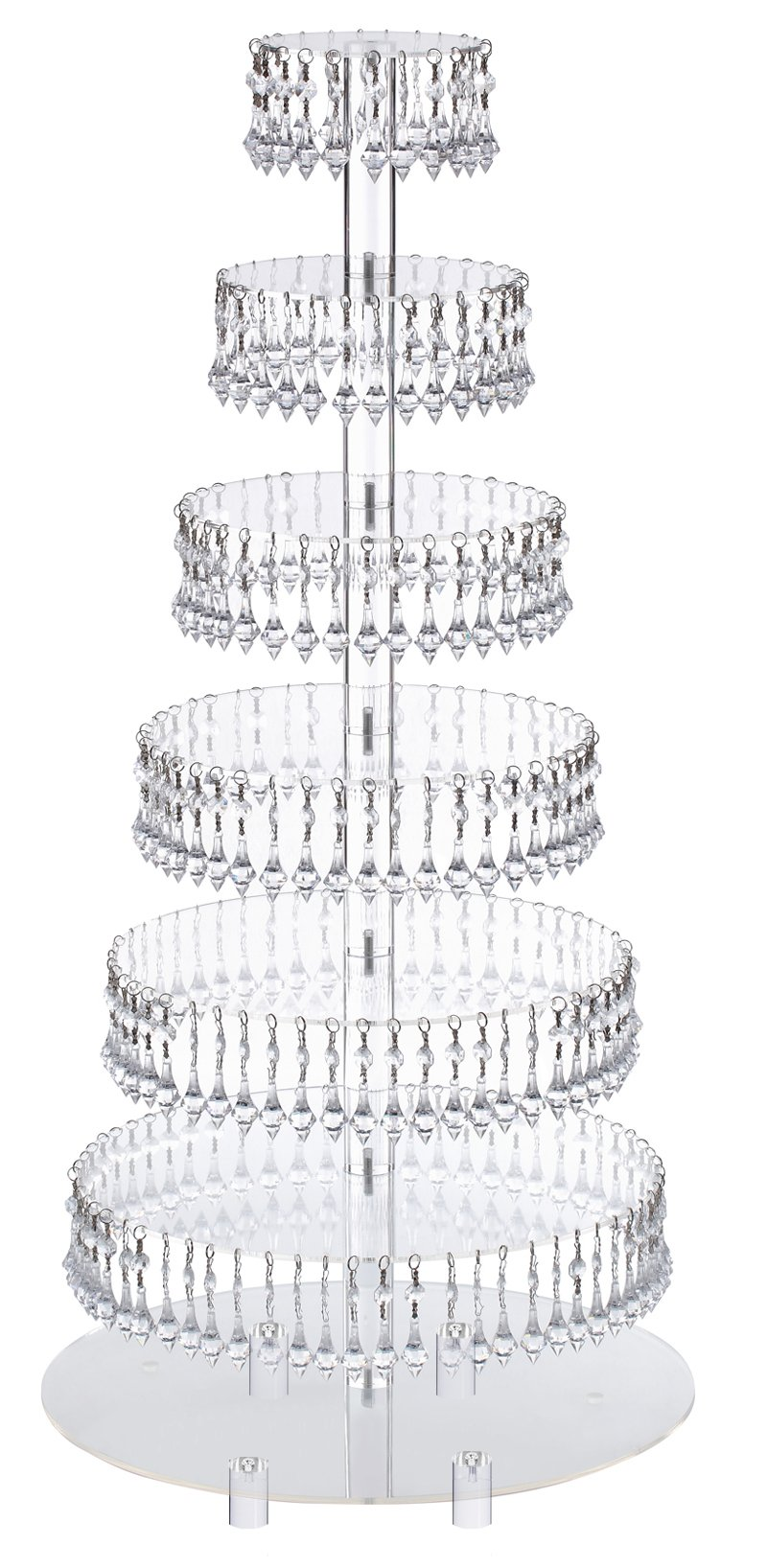 Pre-Installed Crystal Beads- 7 Tier Acrylic Cupcake Tower Stand with Hanging Crystal Bead-wedding Party Cake Tower (7 Tier With Feet)