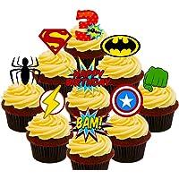 3RD Cumpleaños Superhero Cupcakes Comestible stand-up barquillo – Decoración para tartas
