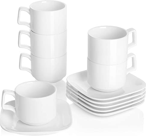 DOWAN Porcelain Coffee Cups with Square Saucers, 9 Ounce for Specialty Coffee Drinks, Cappuccino and Tea Stackable Cups Set of 6, White