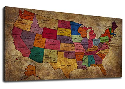 United States Map Canvas Wall Art.Amazon Com Canvas Wall Art United States Map Painting Long Map