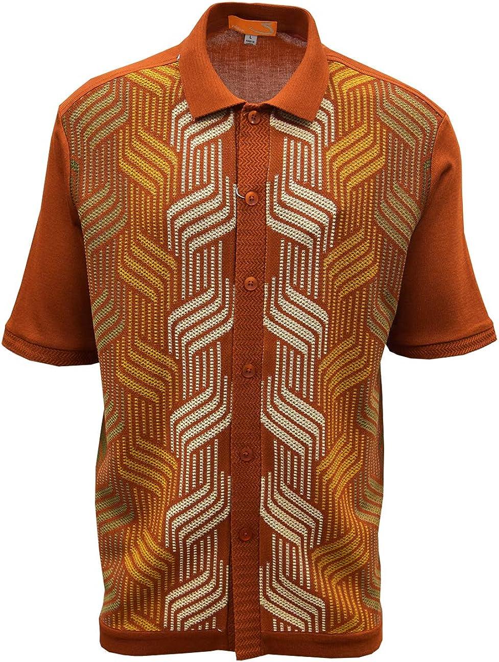 Mens Vintage Shirts – Casual, Dress, T-shirts, Polos Edition-S Men's Short Sleeve Knit Shirt- California Rockabilly Style: Mosaic Honeycomb Jacquard $49.00 AT vintagedancer.com