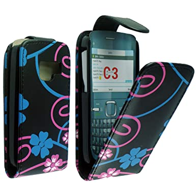 official photos 58920 c8377 FOR NOKIA C3-00 FLOWER PRINT LEATHER FLIP CASE COVER POUCH