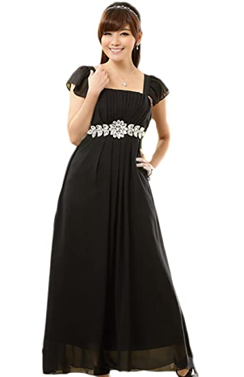 HOT selling Cocktail Prom dress evening dress wedding dress Beautiful big diamond chain Long dress noble (UK 18/20, black): Amazon.co.uk: Clothing
