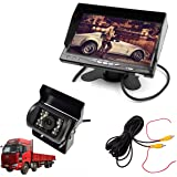 "E-KYLIN Car 12V 24V Truck Parking System (7"" LCD HD Monitor + Heavy Duty Camera) IR Night Vision 10M / 30FT Video Extension Cable Auto Trigger"