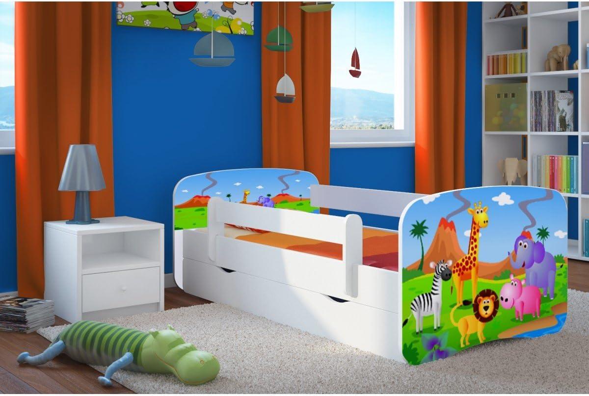 Bjird Cama Infantil 140x70 Cama para Niños Blanca con Barrera de protección contra caídas. cajones extraíbles y Base de Listones para niñas y niños - ...