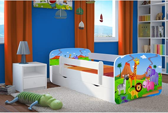 removable drawers and slatted base for girls and boys blue 80 x 180 cm Toddlers bed 140x80 160x80 180x80 Kids Bed with fall protection barrier with mattress included