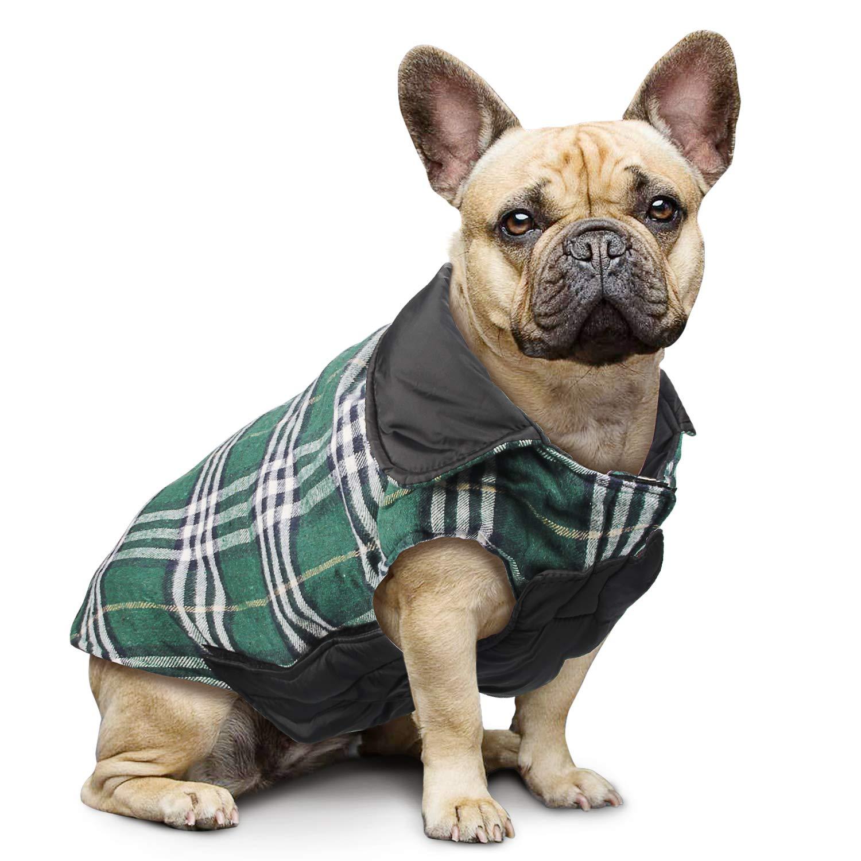 Manteau à carreaux réversible pour chien Automne Hiver Gilet confortable et confortable Manteau à rembourrage pour chien de style britannique pour petits et grands chiens de taille moyenne (Rouge, XL) IREENUO