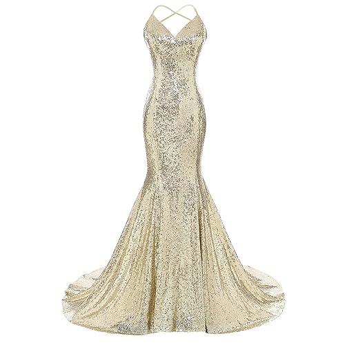 Gold Mermaid Wedding Dress With Long Train: Amazon.com
