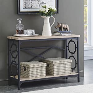 O&K Furniture Narrow Sofa Table with Storage Shelf, Farmhouse Hallway Console Table for Entryway, White Oak Finish(1-Pcs)