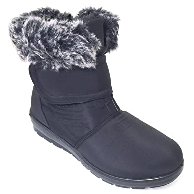 Womens Winter Boots Hook and Loop Fashion Zipper Warm Fur Lined Ankle Shoes Size