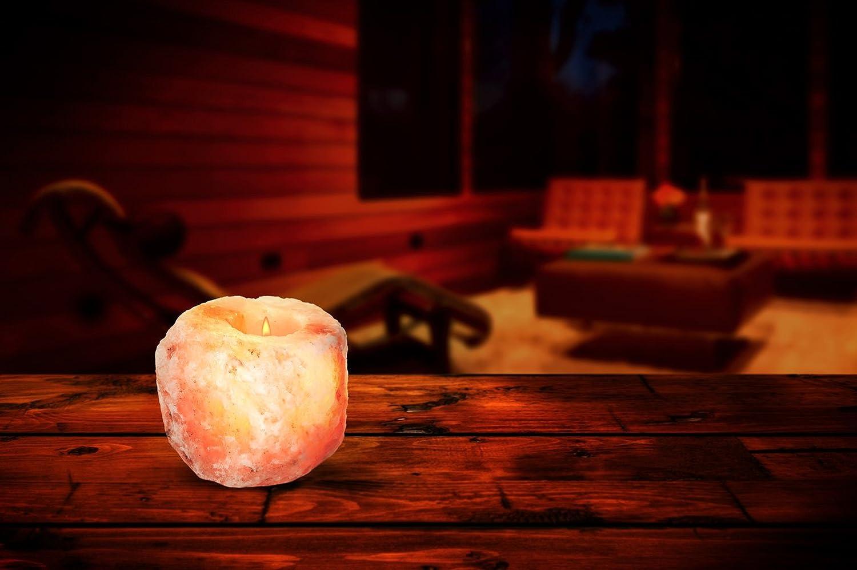 2 Pack by HemingWeigh HemingWeigh Himalayan Natural Crystal Salt Rock Tea Light Candle Holder
