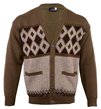 624e8c80eab3 Mens Classic Button Cardigan Argyle Grandad S M L XLXXL  Amazon.co ...
