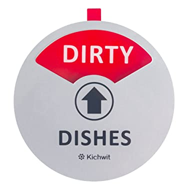 "Kichwit Clean Dirty Dishwasher Magnet with The 3rd Option ""Empty"", Non-Scratch Strong Magnet Backing & Residue Free Adhesive, 3.5"" Diameter, Silver"