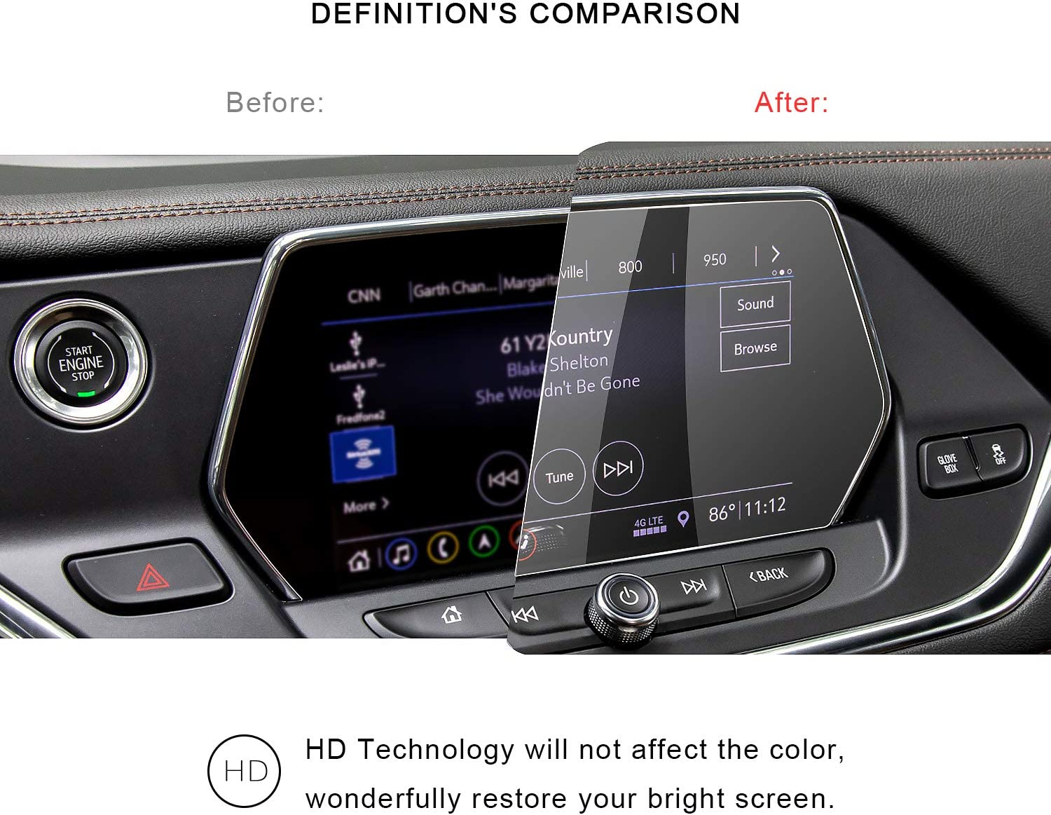 2019 2020 Chev-rolet Blazer 8In Navigation Screen Protector Center Touch Display Anti Scratch High Clarity Clear HD Tempered Glass Protective Film