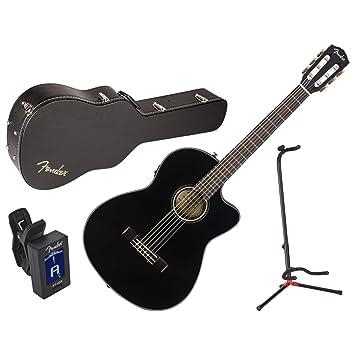 Fender 0962714206 cn-140sce BLK acústica guitarra eléctrica w/funda, soporte, y sintonizador: Amazon.es: Instrumentos musicales