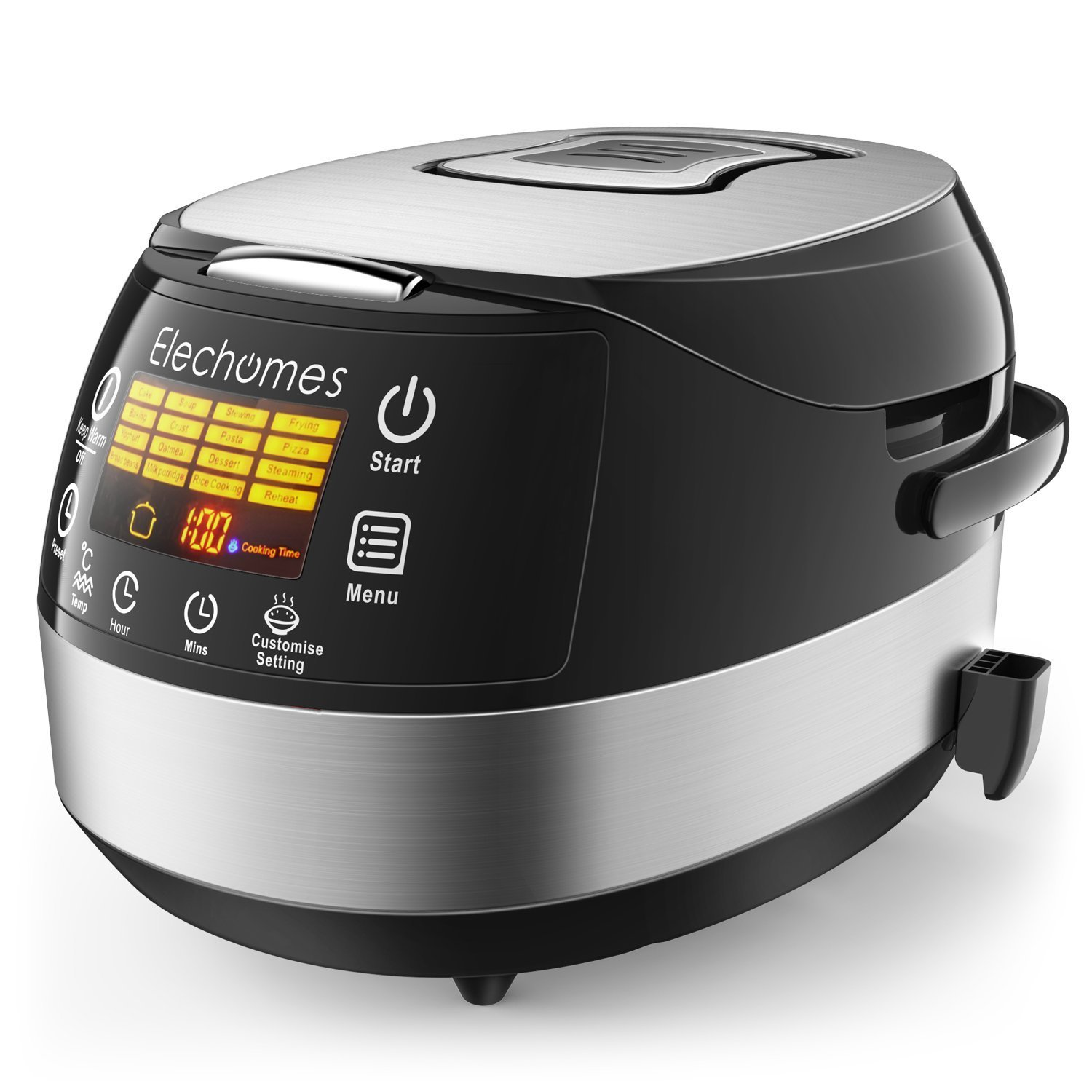 Elechomes LED Touch Control Rice Cooker, 16-in-1 Multi-function Cooker, 10-Cups Uncooked Warmer Cooker with Steam & Rinse Basket, CR502