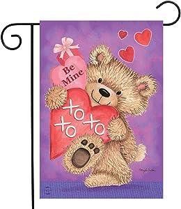 "Briarwood Lane Be Mine Bear Valentine's Day Garden Flag Love Hearts Teddy Bear 12.5"" x 18"""