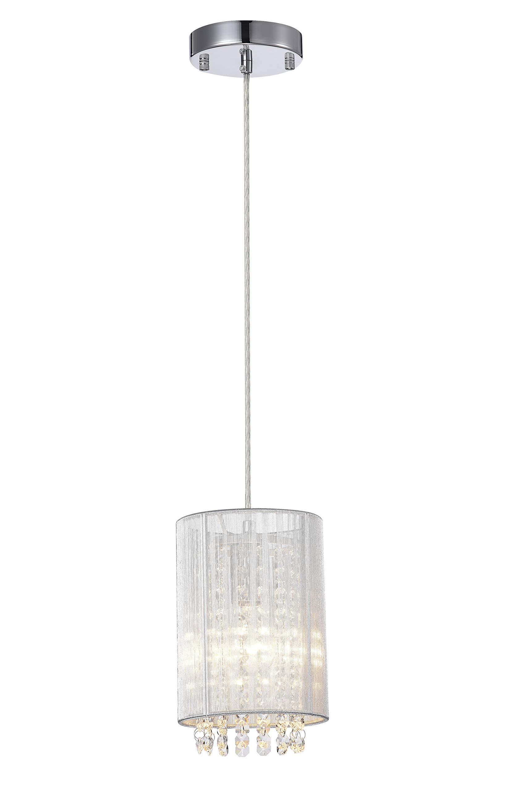 LaLuLa Pendant Lighting Mini Pendant Light Silver Drum Crystal Chandelier 1 Light