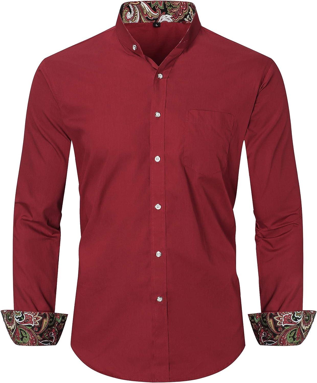 Dioufond Grandad Camisas para hombres Manga Larga Sin Cuello Camisa Hombre