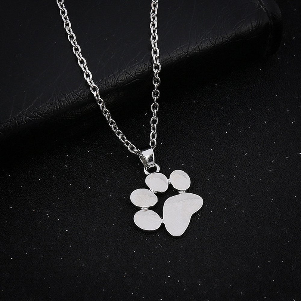 Dainty Pendant Necklace,Haluoo Women Girls Delicate Tiny Dog Paw Pendant Necklace 925 Sterling Silver//Gold Long Sweater Chain Necklace Lovely Dog Paw Charm Necklace Women Jewelry