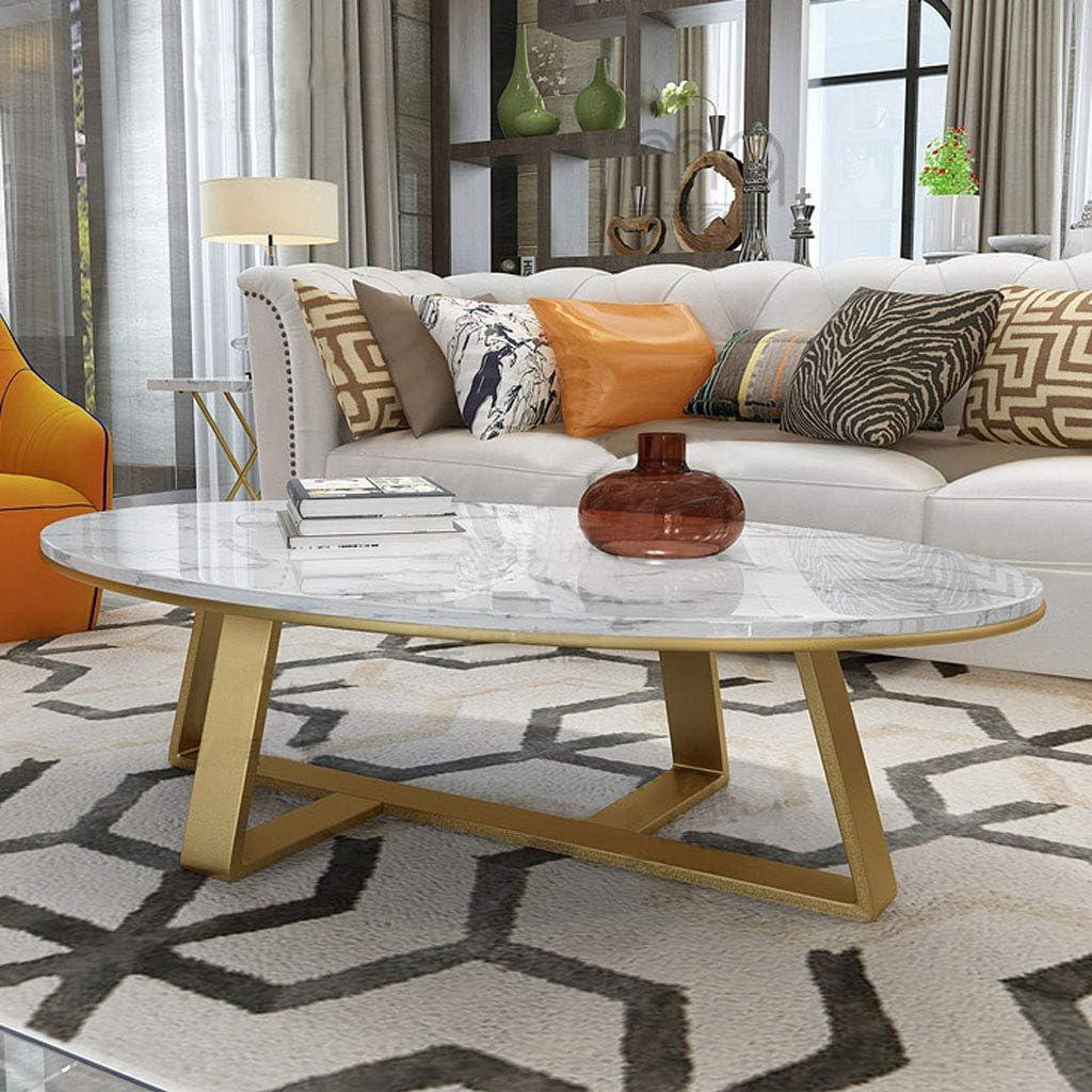 NATUO-Tavoli per Mobili Tavolino da Salotto con tavolino da Salotto 60//80 cm x 40//50 cm x 45 cm Struttura in Metallo Tavolo Snack per la casa tavolino Ovale Moderno Tavolo da Cocktail in Marmo