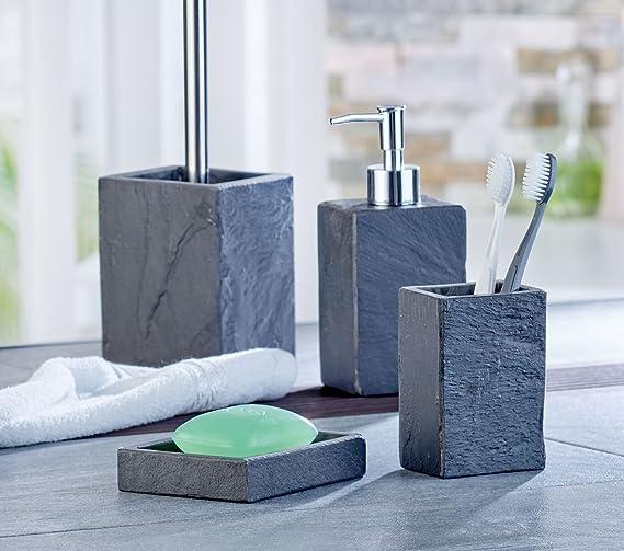 Axentia Jabonera Granada de soporte de jabón de pizarra Jabonera Baño Accesorios para lavabo, ducha y invitados de inodoro de estante para jabón, madera, ...