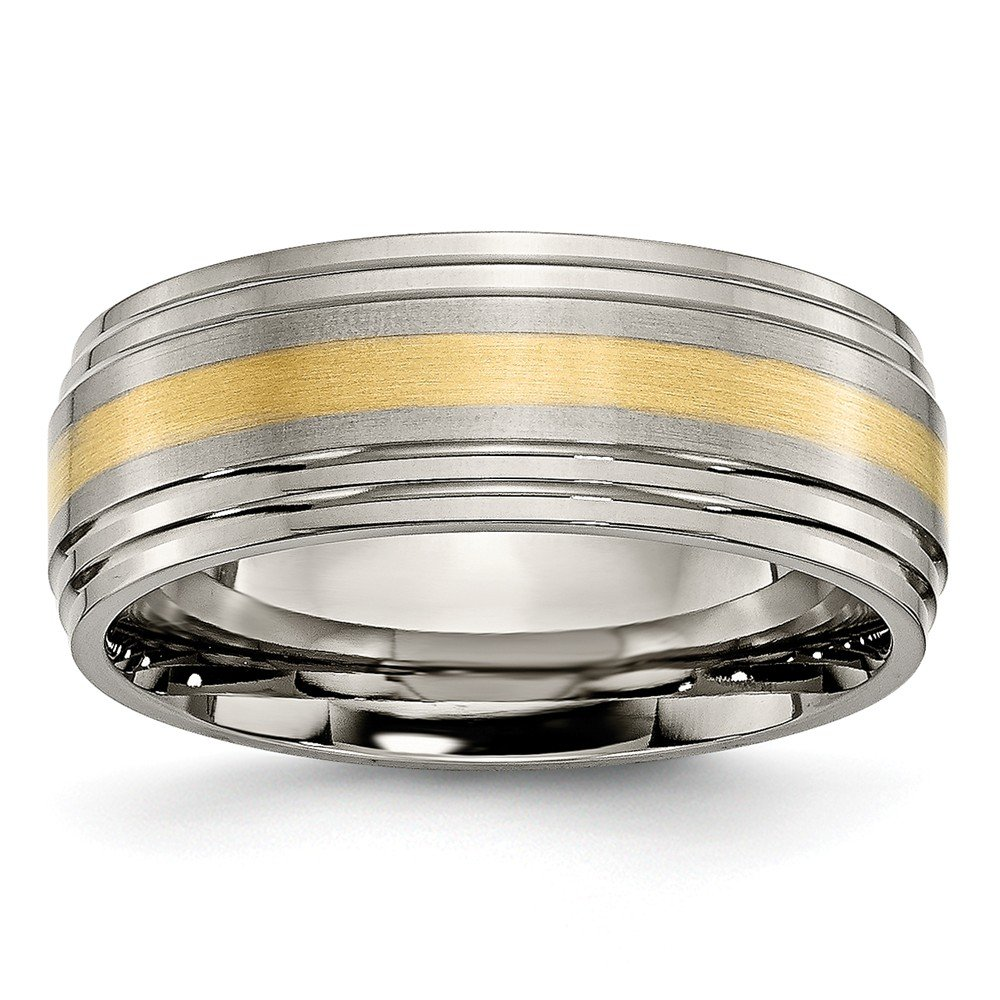 Titanium Ridged Edge 14k Yellow Inlay 8mm Brushed//Polished Band Size 13.5 Length Width 8