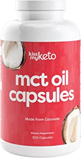 product image for Kiss My Keto MCT Oil Capsules [1000mg], 300 Softgel Pills | 100 Day Supply | Caprylic Acid C8 + Capric Acid C10 from Non-GMO Coconut Oil