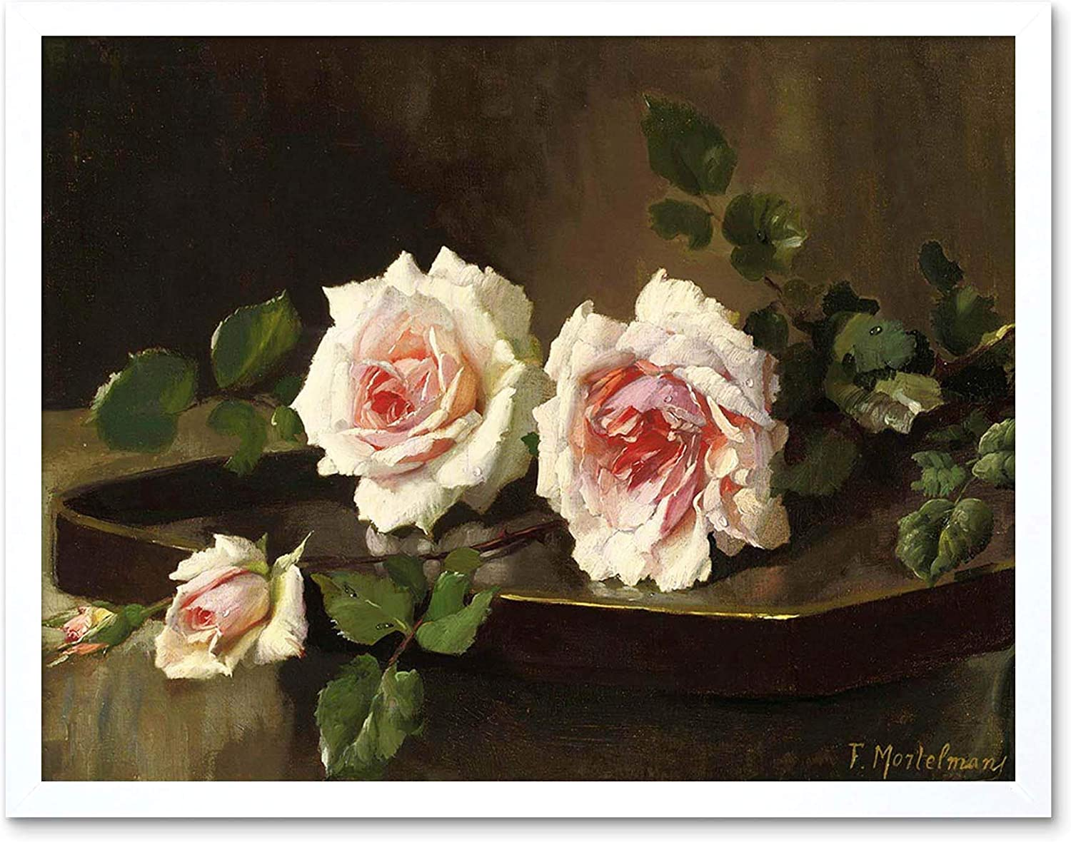 Painting Mortelmans Two Pink Prince Bulgaria Roses Art Print Framed Poster Wall Decor 12x16 Inch Amazon Ca Home Kitchen