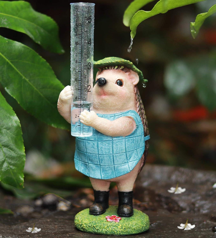 Aivanart Garden Decor Rain Gauge Outdoor, Hedgehog Sculptures Statues Gardening Gifts for Christmas Water Gage for Yard Patio Lawn
