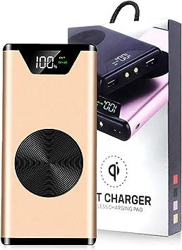VITCHELO Batería Externa 10000mAh Inalámbrico Cargador Portátil De Movil Smartphone Tabletas, Power Bank Alta Capacidad Linterna Compatible Telefonos Android Y Apple iOS 1 Entrada 2 Salida USB: Amazon.es: Electrónica