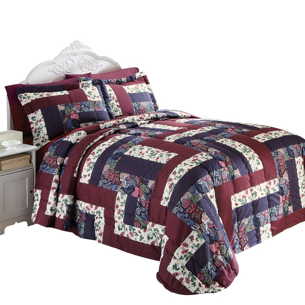 Amazon.com: Caledonia Burgundy Floral Patchwork Quilted Medium ... : quilted patchwork bedspreads - Adamdwight.com