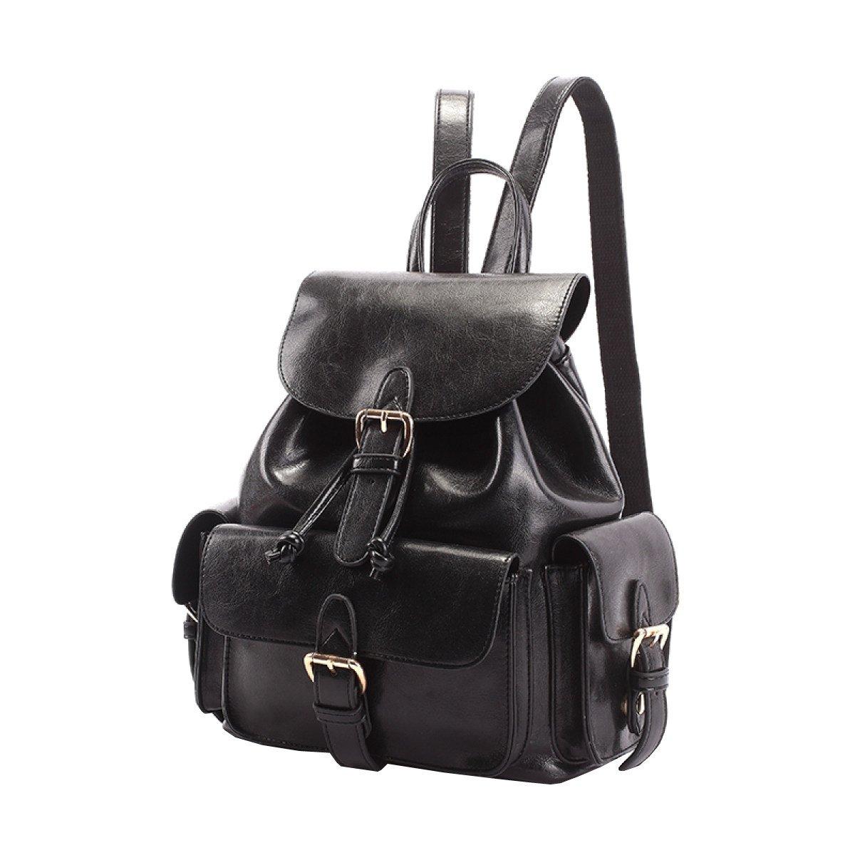 Black 20814cm LAIDAYE Ladies Backpack Shoulder Shoulder Bag Women Bags College Wind Pu Leather Bag