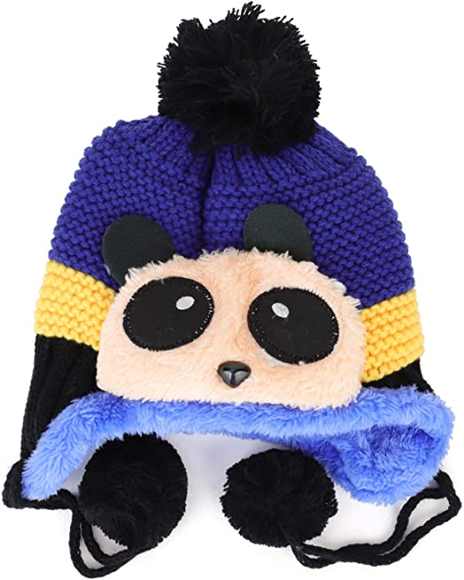 Trendy Apparel Shop Kids Panda Animal Pom Fur Lining Knit Beanie with Tassel