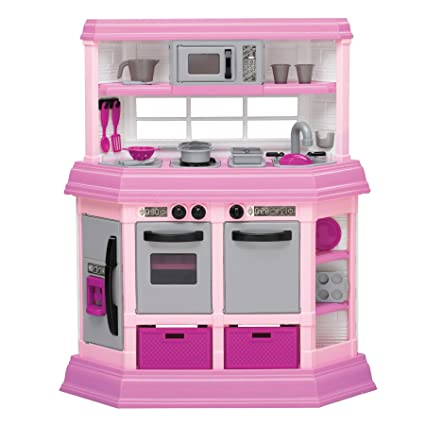 American Plastic Toys Interactive Custom Kitchen Set with 22 Accessories,  Pink