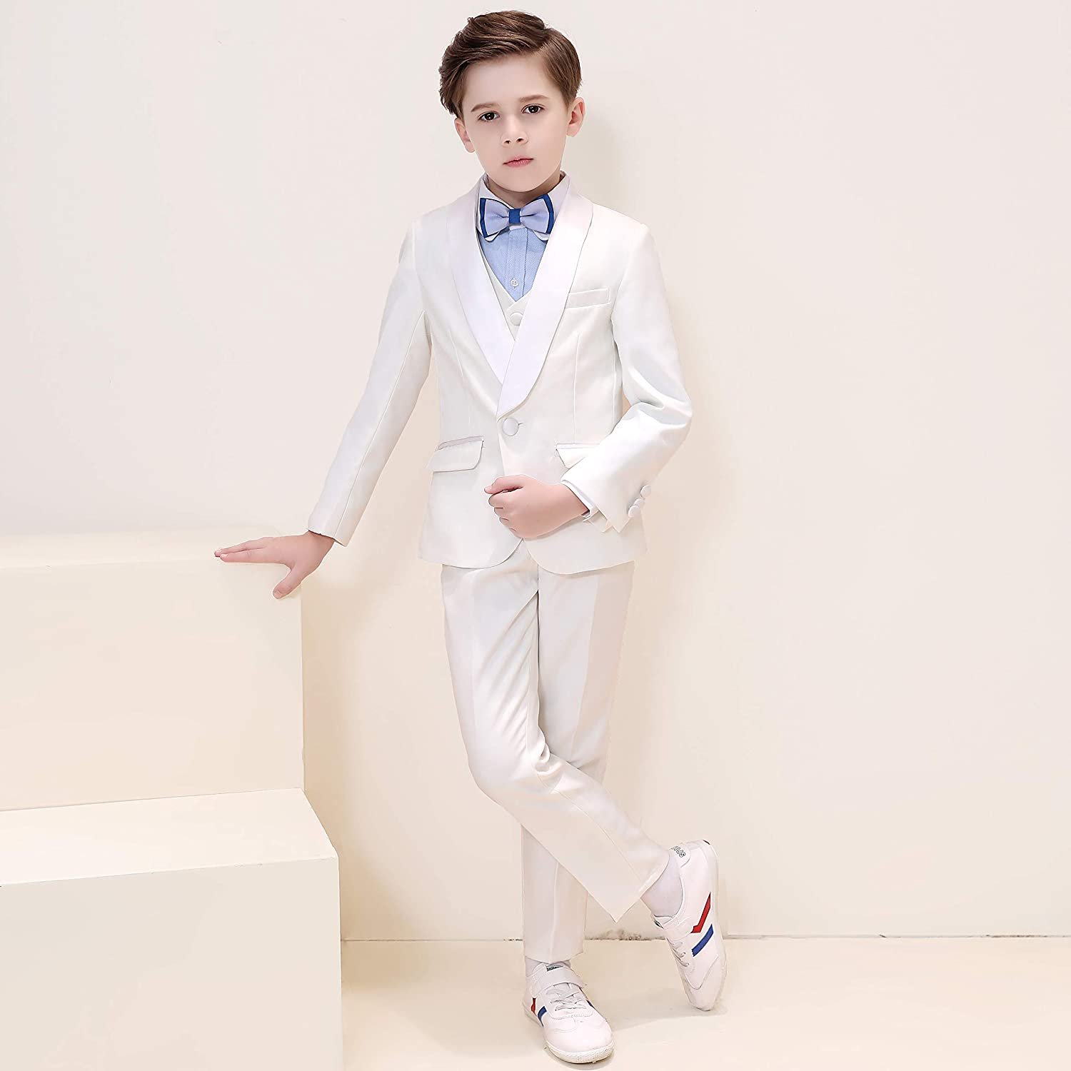 Hibabe Boys Morden Fit Suits 5 Pieces Set,Boys Formal Occasion Wear White