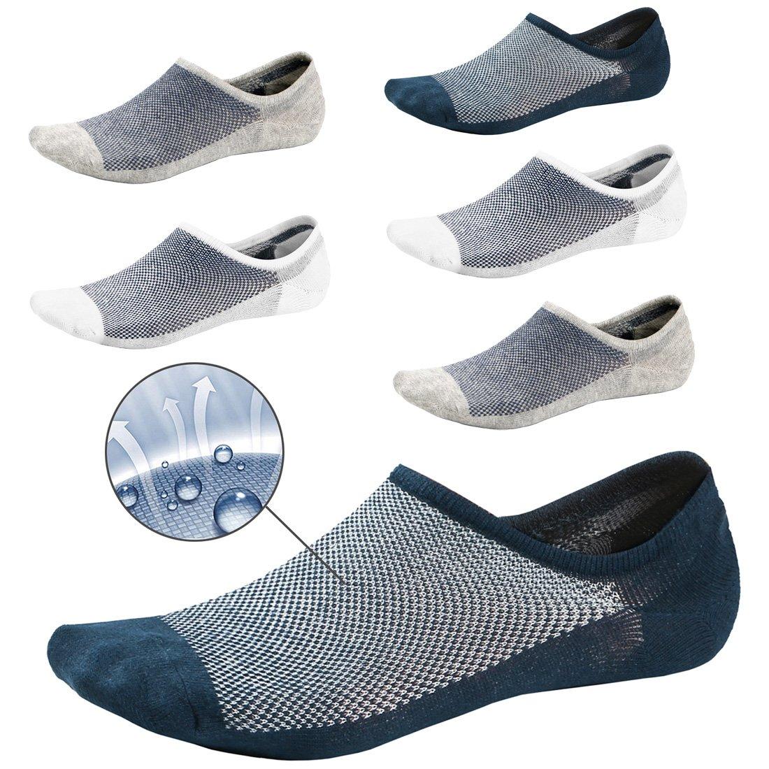 No Show Socks For Men 6Pack Non Slip Low Cut Liner Athletic Ankle Socks Cotton