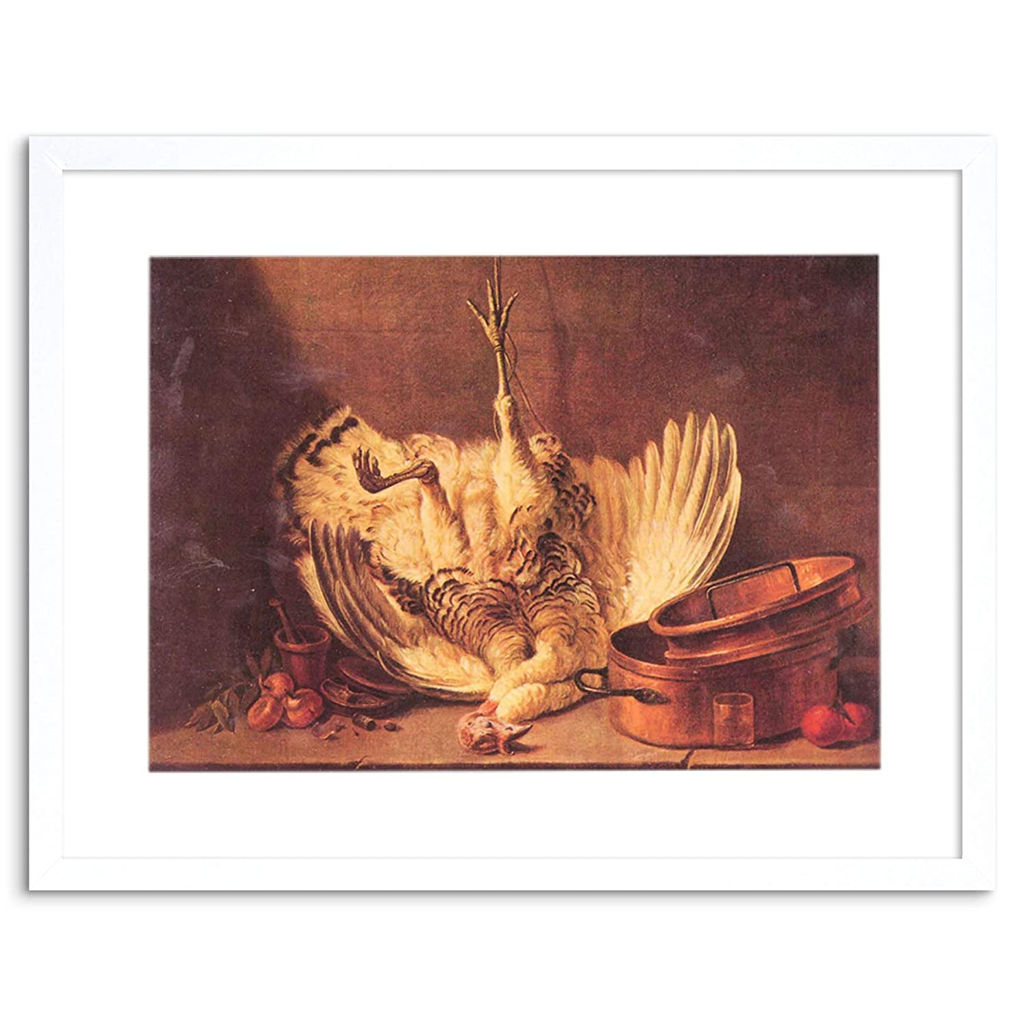 0d63af47c2 Wee Blue Coo PAINTING CHARDIN STILL LIFE TURKEY OLD MASTER FRAMED PICTURE  ART PRINT F97X8279  Amazon.co.uk  Kitchen   Home