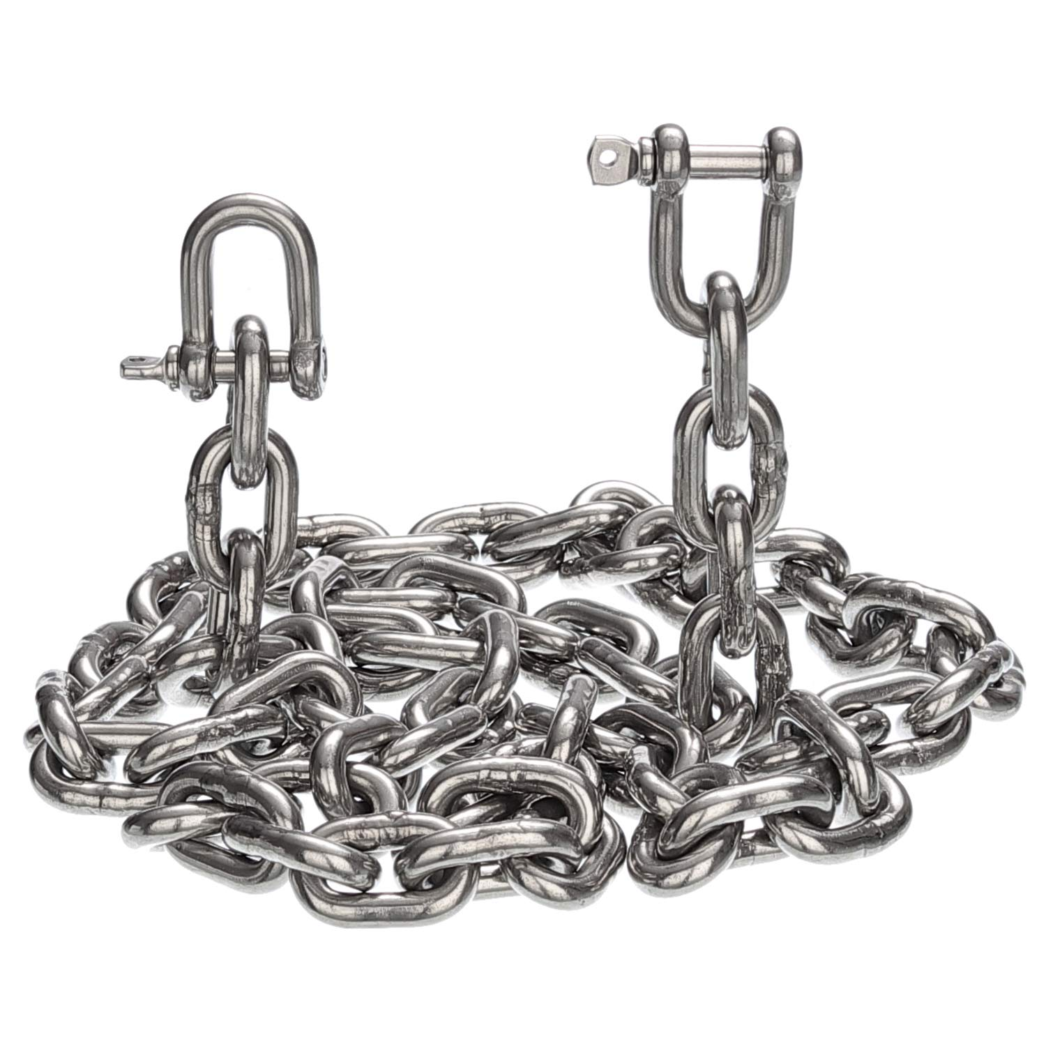 5//16 by 5 Stainless Steel 316 Anchor Chain 5//16 or 8mm by 5 Foot Long with 2 Shackles