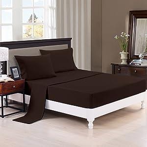 Maiijia Luxury Comfort 2800 Series Wrinkle,Bed Sheet Set Twin,Full, Queen,King, Calking Size(Twin Brown)