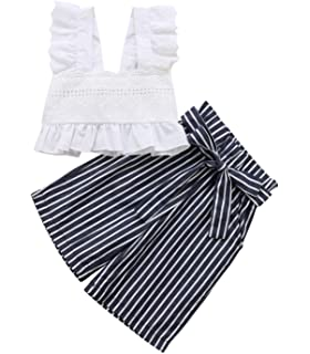 83b5f1ce3481 Toddler Baby Girl Clothes Ruffles Tunic Dress White Tops Striped Pants Outfits  2 Pcs Clothing Set