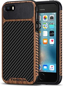 TENDLIN Compatible with iPhone SE Case (2016) / iPhone 5S Case Wood Grain with Carbon Fiber Texture Design Leather Hybrid Case Designed for iPhone 5 / 5S / SE (Carbon & Leather)