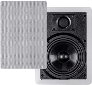 Monoprice 2-Way Polypropylene In-Wall Speakers - 6.5 Inch (Pair) With Paintable Grille - Aria Series,White