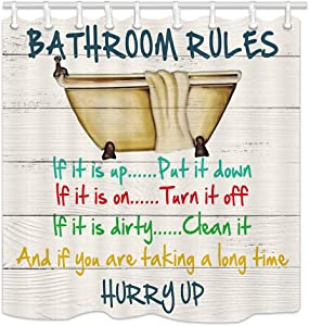 Motivational Inspirational Funny Quotes Bathroom Rule Shower Curtains, Vintage Bathtub on Rustic Cabin Wooden, Polyester Fabric Wood Shower Curtain, Bathroom Accessory Sets, Hooks Included, (69X70in)