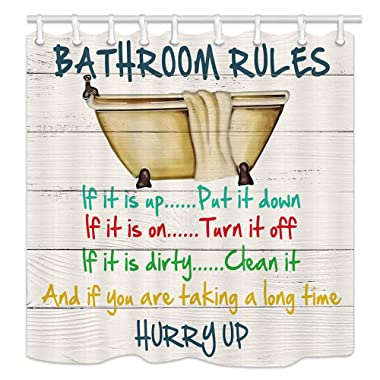 Motivational Inspirational Funny Quotes Bathroom Rule Shower Curtains, Vintage Bathtub on Rustic Cabin Wooden, Polyester Fabric Wood Shower Curtain, Bathroom Accessory Sets, Hooks Included, 70X70in