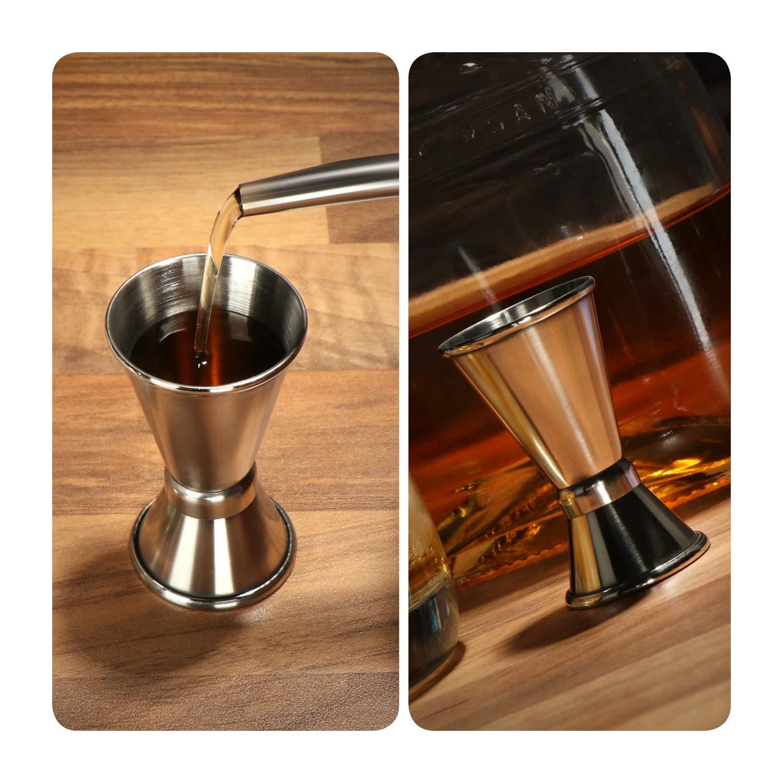 Misurazione e dosaggio com-four/® 2x misurino in acciaio inossidabile Bar per alcolici e cocktail Misurino - 02 pezzi Misurino per bar e cucina