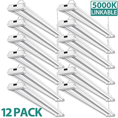 best sneakers 5705a 7994b 12 Pack 42W Linkable Led Shop Lights Addlon 4ft 48 Inch 5000K Led Garage  Lighting, 300W Equivalent Double Integrated Florescent Light Fixture with  ...