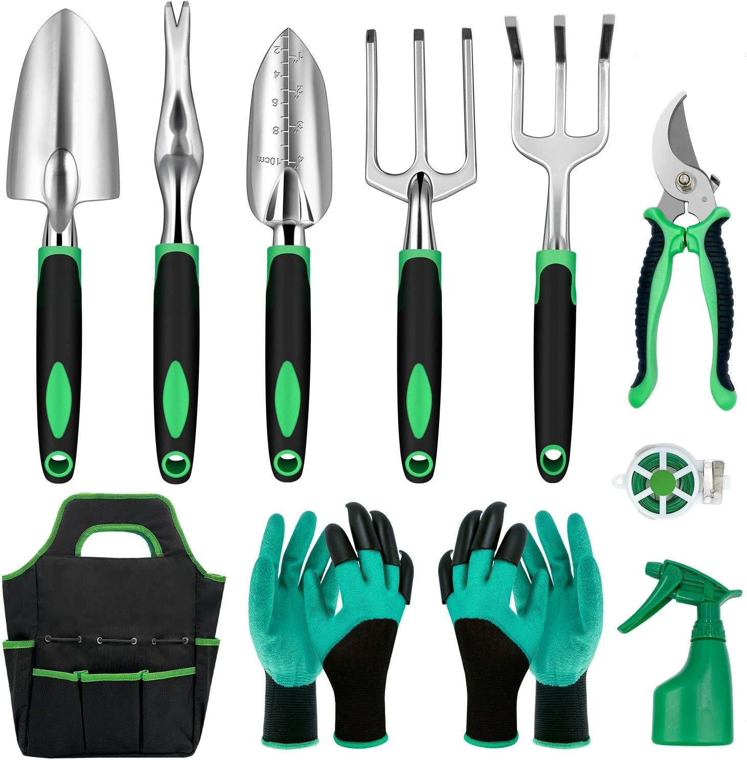 Penfold 11 Pieces Garden Tools Set- Outdoor Aluminum Heavy Duty Gardening Tools with Garden Gloves and Organizer Tote Bag, Vegetable Gardening Supplies Hand Tools, Gardening Gifts for Men Women Kids