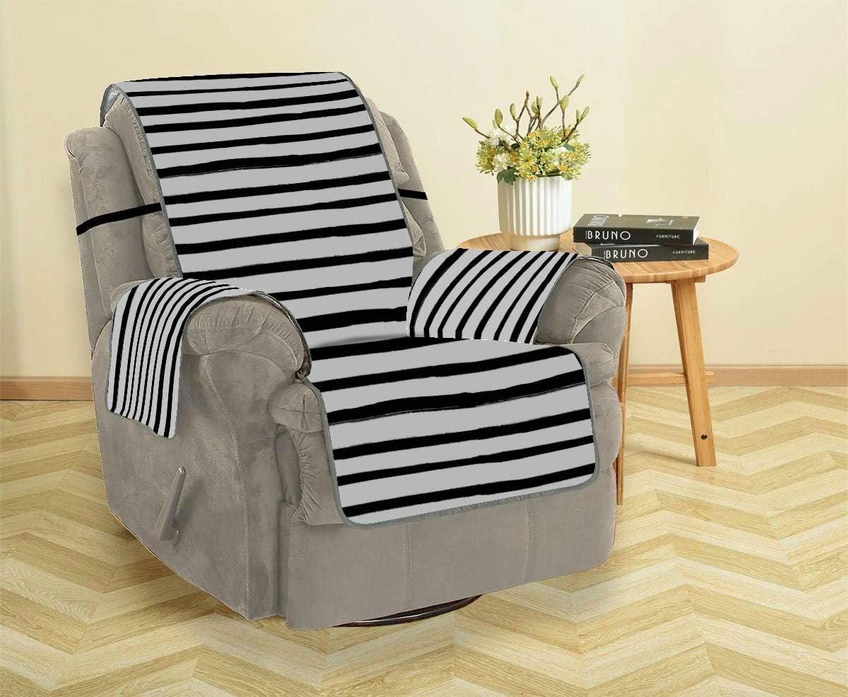 LMFshop Tira Blanca Negra Sofá Moderno Funda de salón Sofá reclinable Funda de sofá Fundas de sofá Protector de Muebles para Mascotas, niños, Gatos, sofá
