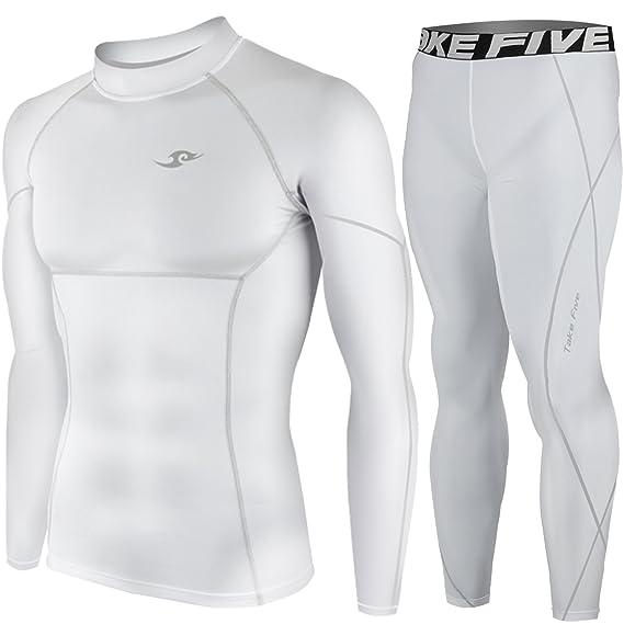 3baa743fdb New White Compression Under Base Layer Wear Top & Pants SET Skin Tights Mens  (M